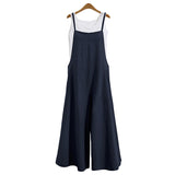 Cotton Linen Pockets Long Wide Leg Romper Strappy Dungaree Bib Overalls