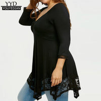 Plus Size Tshits For Women 2018 Spring Autumn Lace Patchwork T-Shirt Long Sleeve Casual Tops Women Clothing L-5XL #115