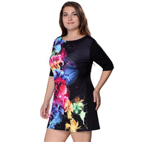 Plus Size Women Clothing 2018 Summer Dress Big Size 6XL Women Dress Print 5XL Dress Black Casual Mini 4XL Party Dresses Vestidos