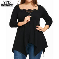 Plus Size Women Clothing 5XL Tops 2018 Irregular Zipper Long Sleeve Lace Patchwork T-shirts Women Camiseta Feminina *1223