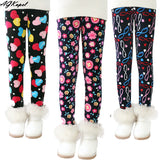 Plus Velvet Girl Kids Winter Pants Thickening Girls Leggings Cartoon For 24M-10Years Warm Girls' Trousers Children's Clothing 1
