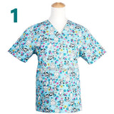 Plus size pet hospital clinic doctor scrubs tops doggie dog print medical robe work clothes medical clothing spa nurse uniform