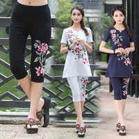Plus size women clothing 2017 girls summer m-4xl dark blue white rose red embroidery leggings calf-length pants pencil pant