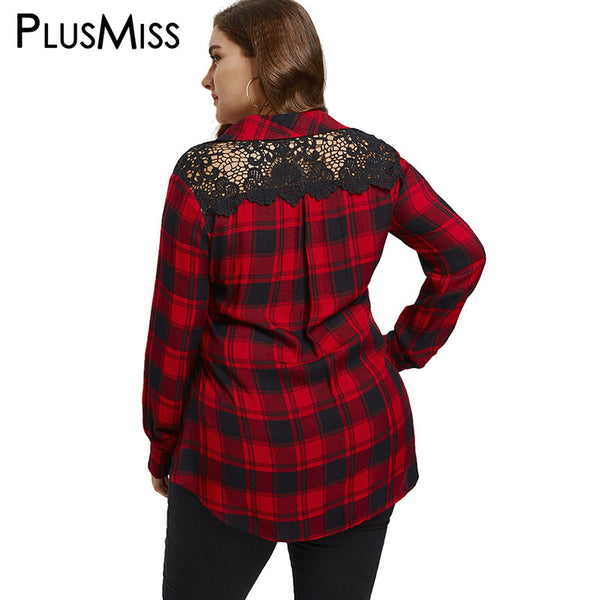 PlusMiss Plus Size 5XL 4XL Casual Back Lace Red Plaid Shirt Women Clothing Long Sleeve Work Office Ladies Checked Top Large Size