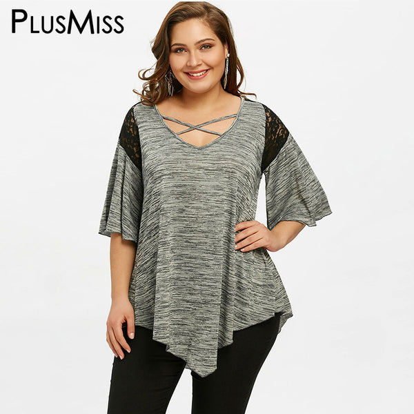 PlusMiss Plus Size 5XL Asymmetrical Bell Flare Sleeve Tunic Top Women Clothing Large Size Blusas Casual Loose Lace Blouse Ladies