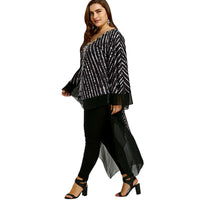 PlusMiss Plus Size 5XL Batwing Sleeve Print High Low Chiffon Tops Women Clothing Loose Long Blouse Shirt Large Size 2018 Blusas