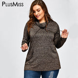 PlusMiss Plus Size 5XL Casual Loose Turtleneck Top Tees Long Sleeve Drawstring T Shirt Women Clothing Oversized T-shirt Big Size