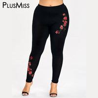PlusMiss Plus Size 5XL Embroidery Floral Leggings Women Clothing Large Size Embroidered Skinny Leggins Pants Capri 2018 Legins