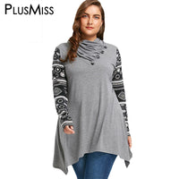 PlusMiss Plus Size 5XL Heaps Collar Vintage Ethnic Blouse Shirt Women Autumn Winter 2017 Long Sleeve Loose Tops Oversized Blusas