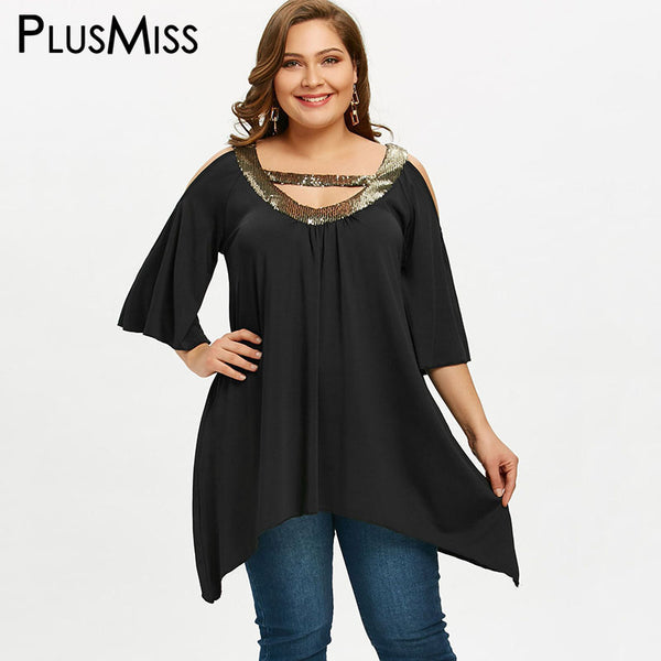 PlusMiss Plus Size 5XL Sequin Collar Cold Shoulder Tunic Tops Short Sleeve Party Blouse 2018 Women Clothing Large Size Blusas