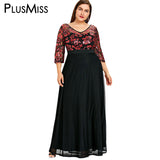 PlusMiss Plus Size 5XL Sequin Floral Mesh Maxi Long Chiffon Dress Women Clothing Sexy Sheer Formal Party Dress Large Size Robe