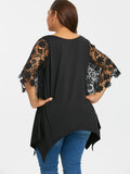 PlusMiss Plus Size 5XL Sexy Crochet Lace Sleeve Asymmetrical Top Women Clothing Large Size Batwing Sleeve Vintage Blouse 2018