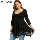 PlusMiss Plus Size 5XL Sexy Deep V Neck Lace Tunic Top Women Clothing Large Size Long Sleeve Vintage Loose Blouse Ladies Blusas