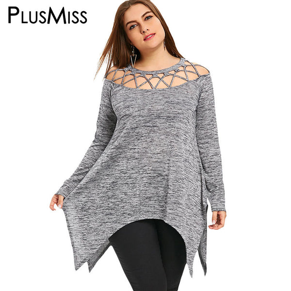 PlusMiss Plus Size 5XL Sexy Lace Up Off the Shoulder Tunic Top Women Clothing Long Sleeve Cut Out Loose Long Blouse Shirt Ladies