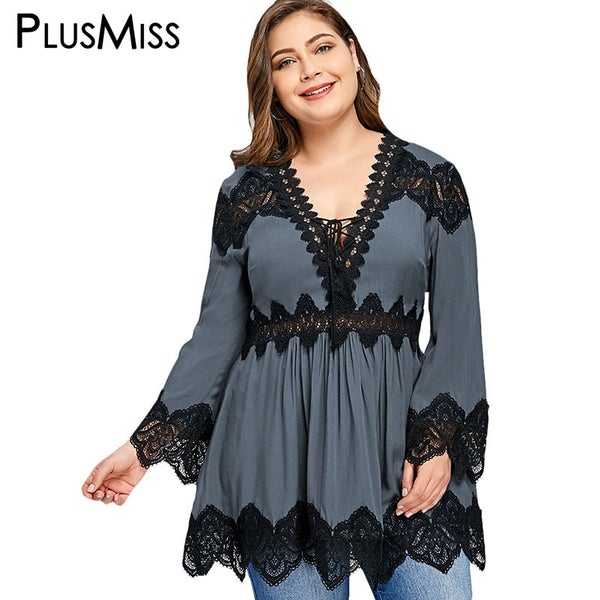 PlusMiss Plus Size 5XL Sexy Lace V Neck Peplum Blouse Shirt Women Clothing Flare Bell Sleeve Loose Boho Beach Tops Large Size