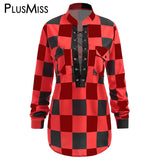 Sexy Plaid Lace Up Shirt Women Clothing Plus Size