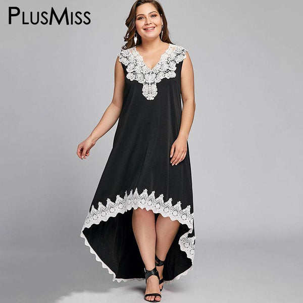 PlusMiss Plus Size 5XL Sexy Sleeveless High Low Boho Beach Dress Women Clothing Loose Bohemia Lace Crochet Maxi Long Dress 2018