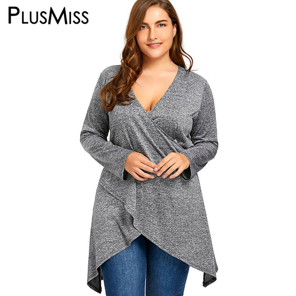 PlusMiss Plus Size 5XL Sexy V Neck Long Top Women Clothing Large Size Long Sleeve Loose Casual Blouse 2018 Ladies Blusas Female