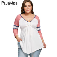 PlusMiss Plus Size 5XL Striped Raglan Sleeve Empire Waist T-shirt Tunic Top Tee Women Clothing Casual Loose V Neck T Shirt 2018