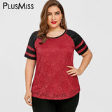 PlusMiss Plus Size 5XL Summer 2018 Sexy Lace T Shirt Women Clothes Big Size Casual Raglan Short Sleeve T-shirt Ladies Top Tees