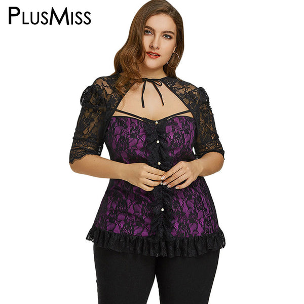 PlusMiss Plus Size 5XL Vintage Lace Crochet Cut Out Top Women Clothing Half Sleeve Lolita Blouse Shirt Large Size Blusas 2018