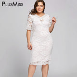 PlusMiss Plus Size 5XL White Lace Crochet Midi Dress Women Clothing Big Size Elegant Evening Party Dresses Robe Femme Summer