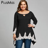 PlusMiss Plus Size 5XL White Lace Crochet Tunic Tops Women Clothing Large Size Long Sleeve Loose Beach Blouse Ladies 2018 Blusas