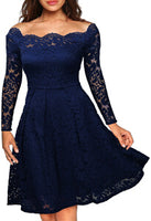 Embroidery Vintage Lace Dress Women Off Shoulder Dresses Long Sleeve