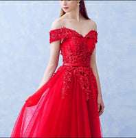 Boat Neck Beading with Appliques Long Evening Dresses Elegant Lace vestido de festa Banquet Party Prom dresses