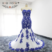 Sweetheart Lace Appliqued White and Blue Mermaid Wedding Dress Lace Up Back Lace Wedding Gown