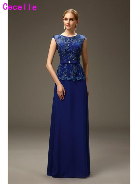 Royal Blue Long A-line Mother of the Bride Groom Evening Dresses For Wedding Beaded Chiffon Mother's Formal Evening Dresses