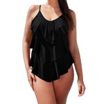 Ruffle One Piece Swimsuit Mature Women Cover Belly Swimwear Slimming