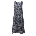 Summer Vintage Sleeveless Floral Dress Plus Size Women Oversize Rayon Mid Calf Dress