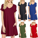 SHIBEVER Summer Women Dress Beach Casual Dress V-Neck Party Plus Size Dresses Loose Solid Dress For Women Female Clothing LD228