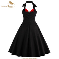 SISHION Women Summer Dress 2017 New Halter Plus Size Clothing Retro Swing Casual 50s Vintage Dresses Black Red Vestidos VD0443