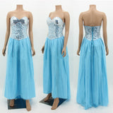 Sequined Strapless Summer Maxi Dress Plus Size Wedding Party Dress chiffon Dress