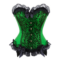 Sexy Satin Lace overlay Corset Bustier Bodyshaper Lingerie Showgirl Cosplay Costume Plus Size S-6XL clothing