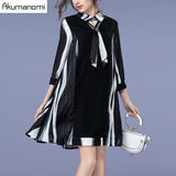 Spring Dress Hollow Out Turn-down Collar Scarf Three Quarter Sleeve Women's Clothes Autumn A-line Dress Plus Size 5XL 4XL 3XL