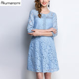 Spring Lace Dress Sky Blue Hollow Out Three Quarter Sleeve Knee-Length Women's Clothes Autumn A-line Dress Plus Size 5XL 4XL 3XL