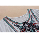 Embroidery Blouse Women Short Sleeve Casual Blouses Shirt Plus Size