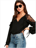 Summer Spring Chiffon Womens Tops and Blouses Female Long Sleeve Ruffles Lace Patchwork Blouse Shirts V Neck Plus Size Clothing