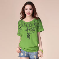 Summer Women's Plus Size Clothing Top Batwing Loose Short-sleeve T-Shirt 100% Cotton Female T-shirt