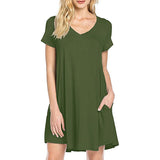 TEMOFON Women Dress Summer Casual Loose Dresses V-Neck Plus Size Party Dress Solid Mini Dress For Women Clothing New ELD228