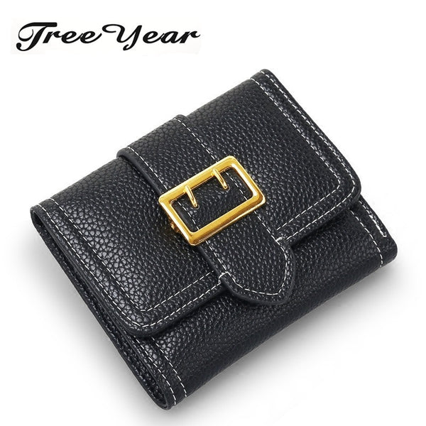 Zipper Short Standard Wallet PU Leather