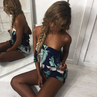 Off Shoulder Print Beach Jumpsuit Romper Sleeveless Short Overalls