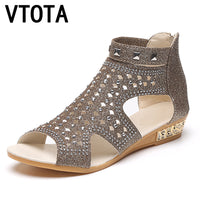 VTOTA Sandals Women Sandalia  Casual Rome Summer Shoes Fashion Rivet Gladiator