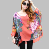 Vestidos Summer Dress 2017 Ladies Floral Print Casual Chiffon Dress Batwing Sleeve Bohemian Dresses Plus Size Women Clothing 6XL