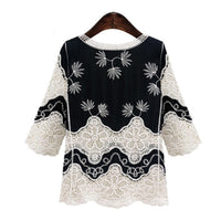 Vintage White Lace Blouses Women 2017 New Ladies Casual V Neck Blouses Half Sleeve Tops Loose Shirt Plus Size Clothing M- 5XL