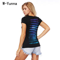 W-Yunna 2018 New Summer Black Hollow out Design T-shirt U-neck Slim Soft Tee Tops Women Harajuku Galaxy Print 3D T shirt Women