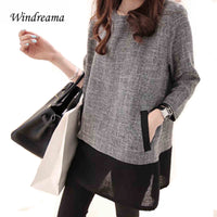 Windreama Plus Size Women Loose Blusas O-Neck Blouse Three Quarter Sleeve Blouses Gray White Women Clothing Tops Camisa Feminina